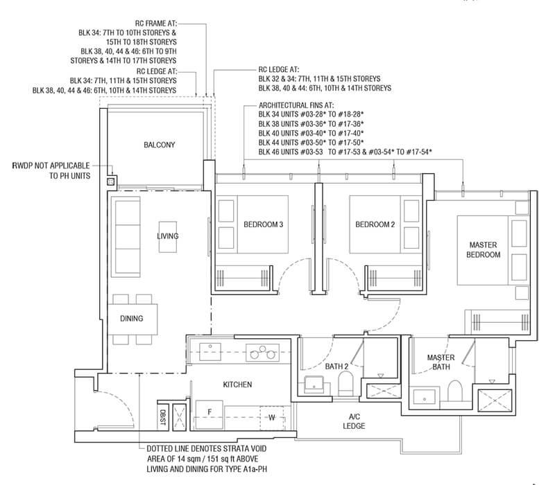 3 Bedroom Type A1a 840sqft